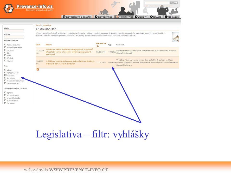 webové sídlo WWW.PREVENCE-INFO.CZ Legislativa – filtr: vyhlášky