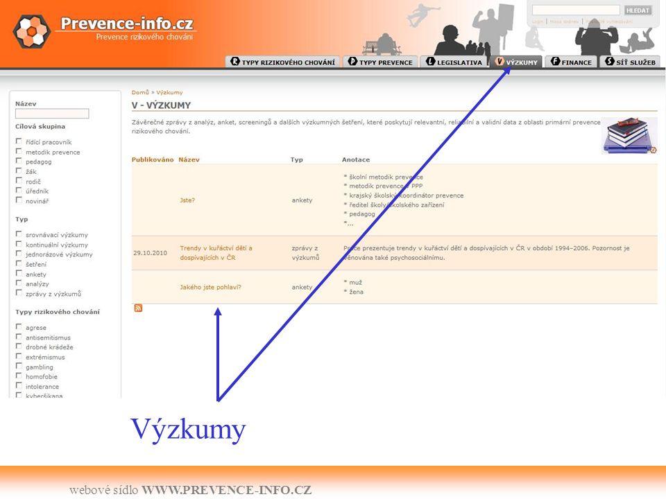 webové sídlo WWW.PREVENCE-INFO.CZ Výzkumy