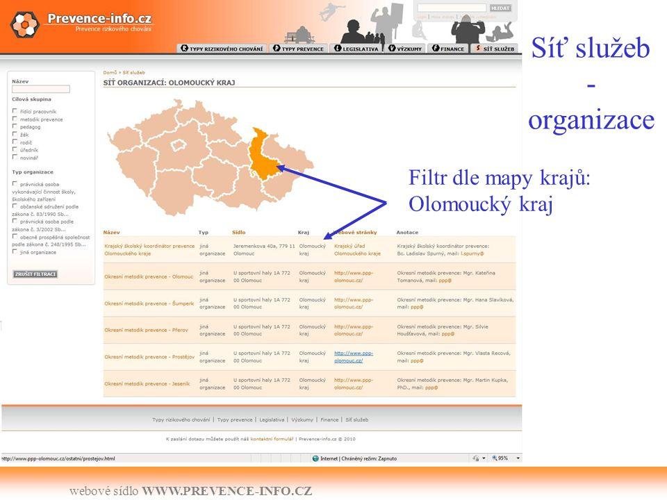 webové sídlo WWW.PREVENCE-INFO.CZ Síť služeb - organizace Filtr dle mapy krajů: Olomoucký kraj