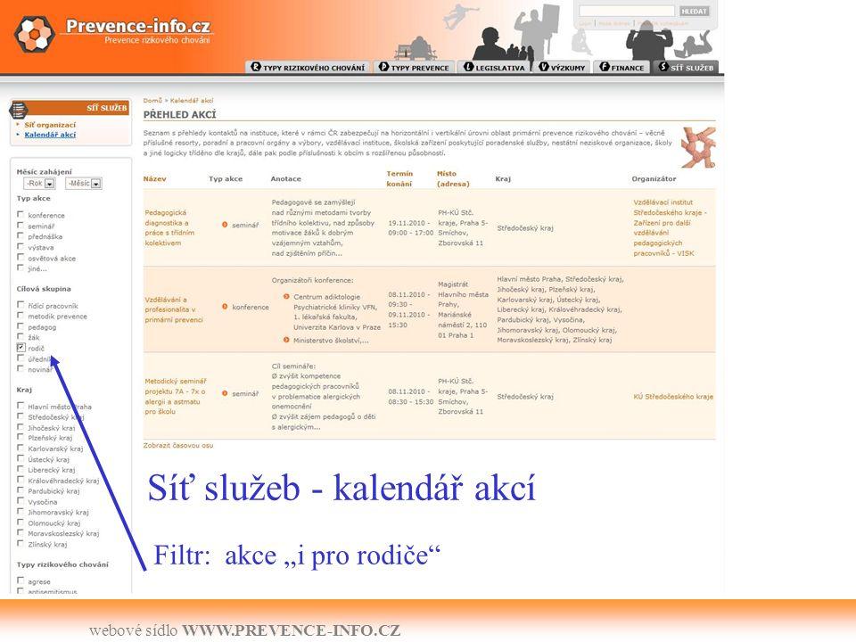 """webové sídlo WWW.PREVENCE-INFO.CZ Síť služeb - kalendář akcí Filtr: akce """"i pro rodiče"""
