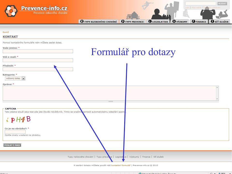 webové sídlo WWW.PREVENCE-INFO.CZ Formulář pro dotazy