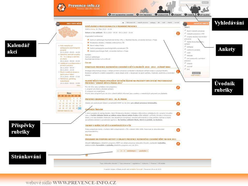 webové sídlo WWW.PREVENCE-INFO.CZ Závěr Web slouží laické veřejnosti jako garantovaný zdroj informací o –typech rizikového chování, –typech prevence, –Legislativě, –výzkumech a různých šetřeních, –finančních zdrojích, –síti služeb (organizacích a akcích) v regionech.