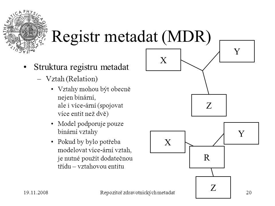19.11.2008Repozitoř zdravotnických metadat20 Registr metadat (MDR) Struktura registru metadat –Vztah (Relation) Vztahy mohou být obecně nejen binární,