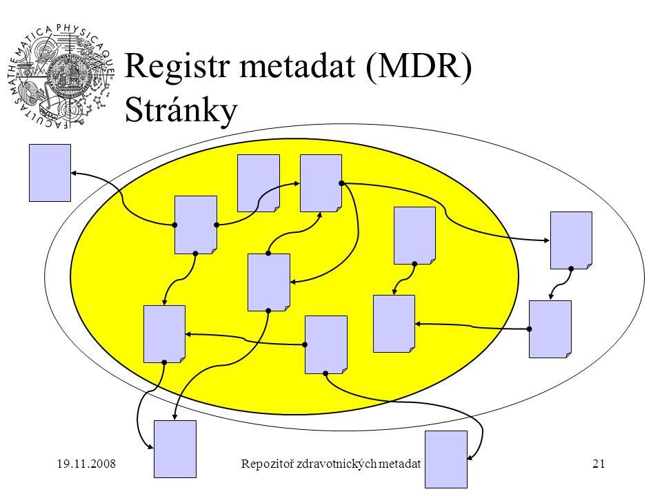 19.11.2008Repozitoř zdravotnických metadat21 Registr metadat (MDR) Stránky