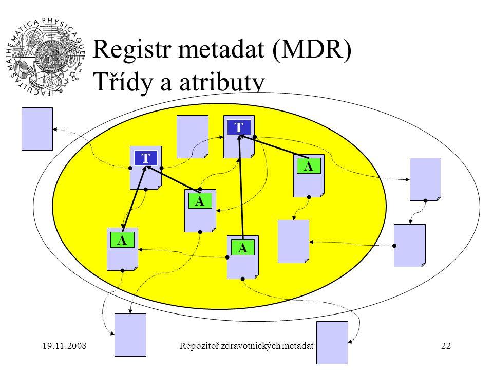 19.11.2008Repozitoř zdravotnických metadat22 Registr metadat (MDR) Třídy a atributy T T A A A A