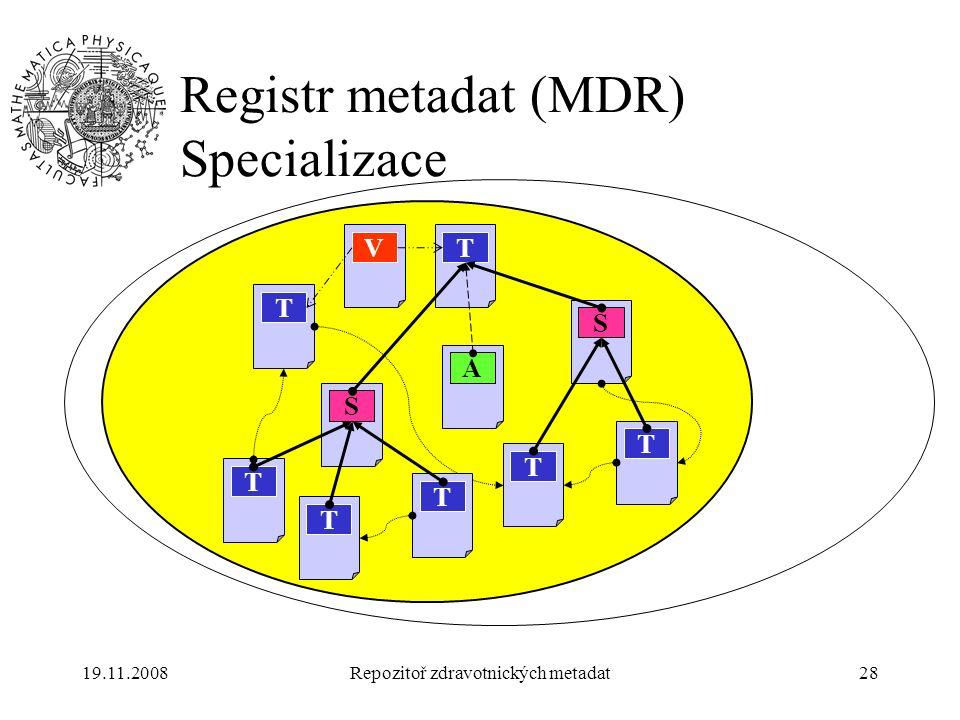 19.11.2008Repozitoř zdravotnických metadat28 Registr metadat (MDR) Specializace T T S T T S V T T T A