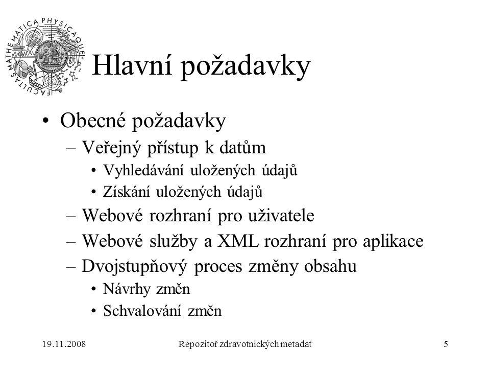 19.11.2008Repozitoř zdravotnických metadat5 Hlavní požadavky Obecné požadavky –Veřejný přístup k datům Vyhledávání uložených údajů Získání uložených ú