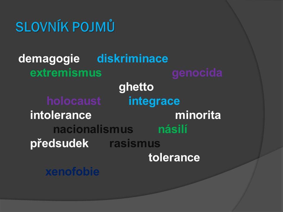SLOVNÍK POJMŮ demagogie diskriminace extremismus genocida ghetto holocaust integrace intolerance minorita nacionalismus násilí předsudek rasismus tolerance xenofobie
