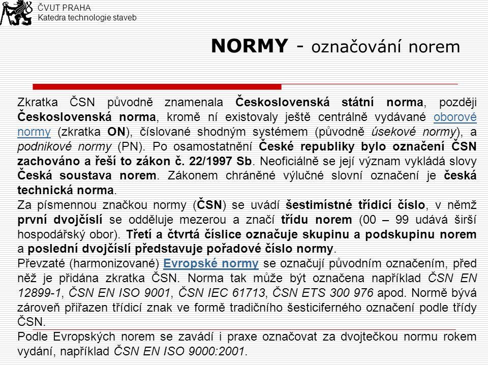 NORMY - označování norem Zkratka ČSN původně znamenala Československá státní norma, později Československá norma, kromě ní existovaly ještě centrálně vydávané oborové normy (zkratka ON), číslované shodným systémem (původně úsekové normy), a podnikové normy (PN).