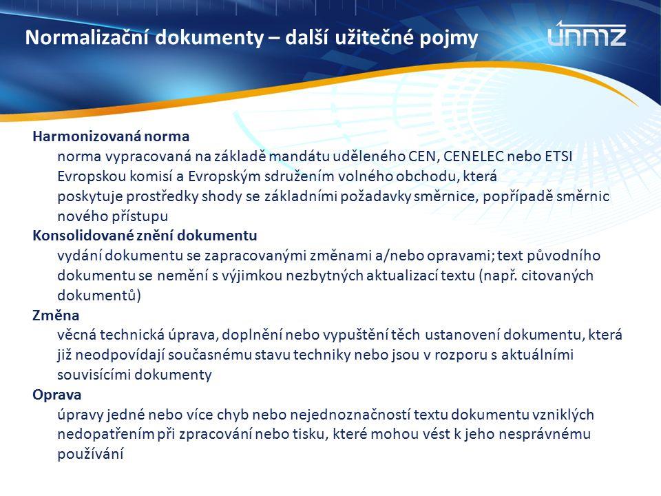 Normalizační dokumenty – další užitečné pojmy Harmonizovaná norma norma vypracovaná na základě mandátu uděleného CEN, CENELEC nebo ETSI Evropskou komisí a Evropským sdružením volného obchodu, která poskytuje prostředky shody se základními požadavky směrnice, popřípadě směrnic nového přístupu Konsolidované znění dokumentu vydání dokumentu se zapracovanými změnami a/nebo opravami; text původního dokumentu se nemění s výjimkou nezbytných aktualizací textu (např.