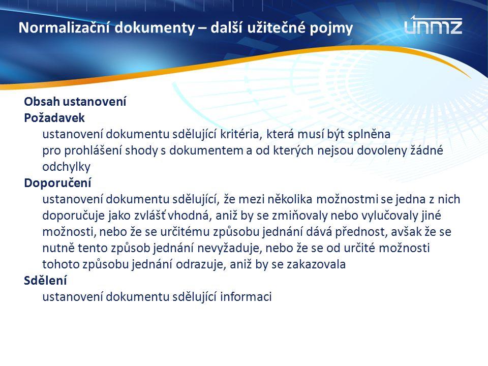 Normalizační dokumenty – další užitečné pojmy Obsah ustanovení Požadavek ustanovení dokumentu sdělující kritéria, která musí být splněna pro prohlášen
