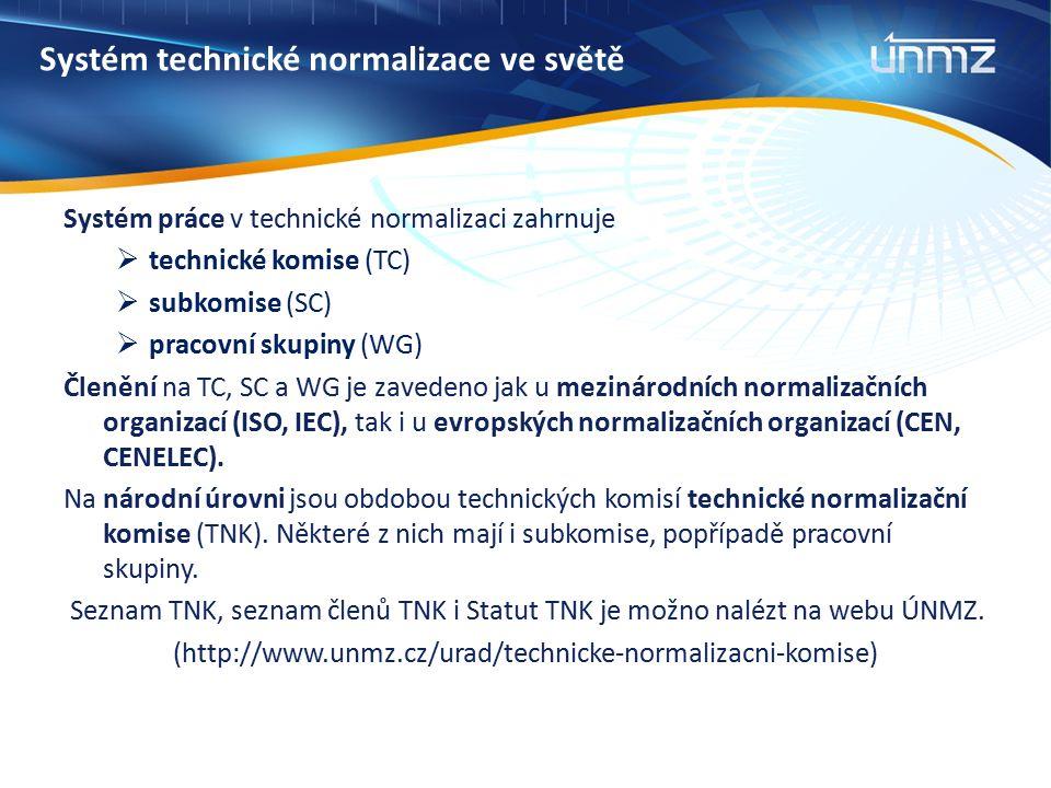 Systém technické normalizace ve světě Systém práce v technické normalizaci zahrnuje  technické komise (TC)  subkomise (SC)  pracovní skupiny (WG) Č
