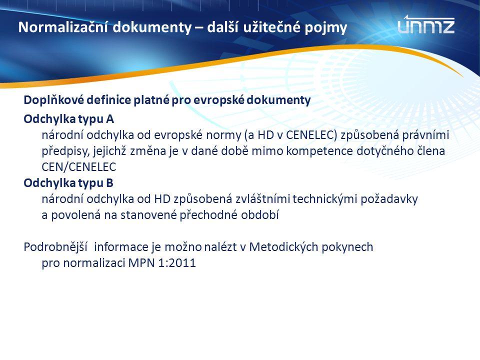Normalizační dokumenty – další užitečné pojmy Doplňkové definice platné pro evropské dokumenty Odchylka typu A národní odchylka od evropské normy (a HD v CENELEC) způsobená právními předpisy, jejichž změna je v dané době mimo kompetence dotyčného člena CEN/CENELEC Odchylka typu B národní odchylka od HD způsobená zvláštními technickými požadavky a povolená na stanovené přechodné období Podrobnější informace je možno nalézt v Metodických pokynech pro normalizaci MPN 1:2011