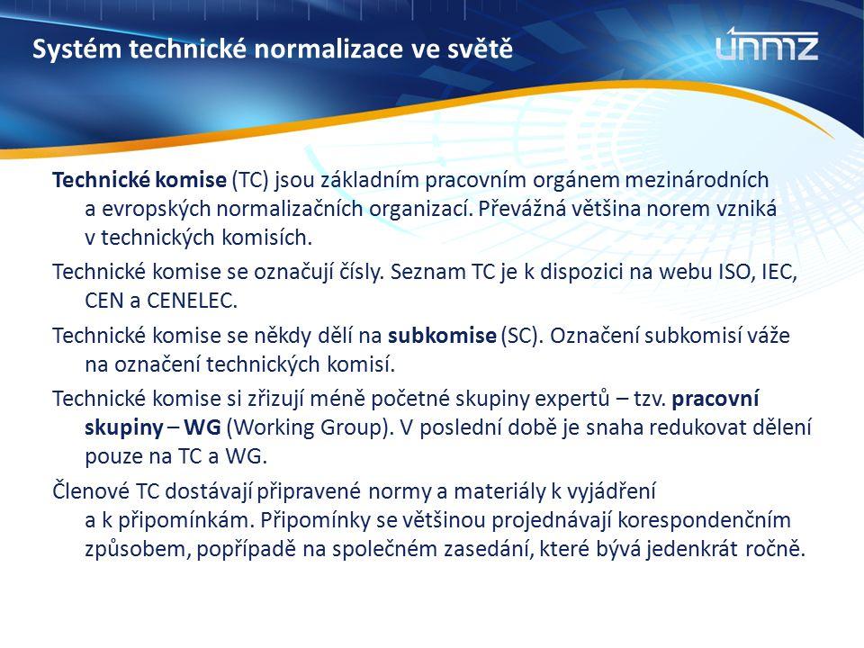 Normalizační dokumenty a jejich označování Další druhy normativních dokumentů Technická specifikace (TS) – je dokument přijatý CEN, CENELEC, ISO nebo IEC s možností budoucí dohody o evropské či mezinárodní normě, pro niž však v současné době:  nelze získat potřebnou podporu ke schválení jako evropské nebo mezinárodní normy;  jsou pochybnosti o tom, zda je dosaženo konsenzu;  předmětná záležitost je stále ve stadiu technického vývoje;  existuje jiný důvod znemožňující jeho okamžité vydání jako evropské nebo mezinárodní normy.
