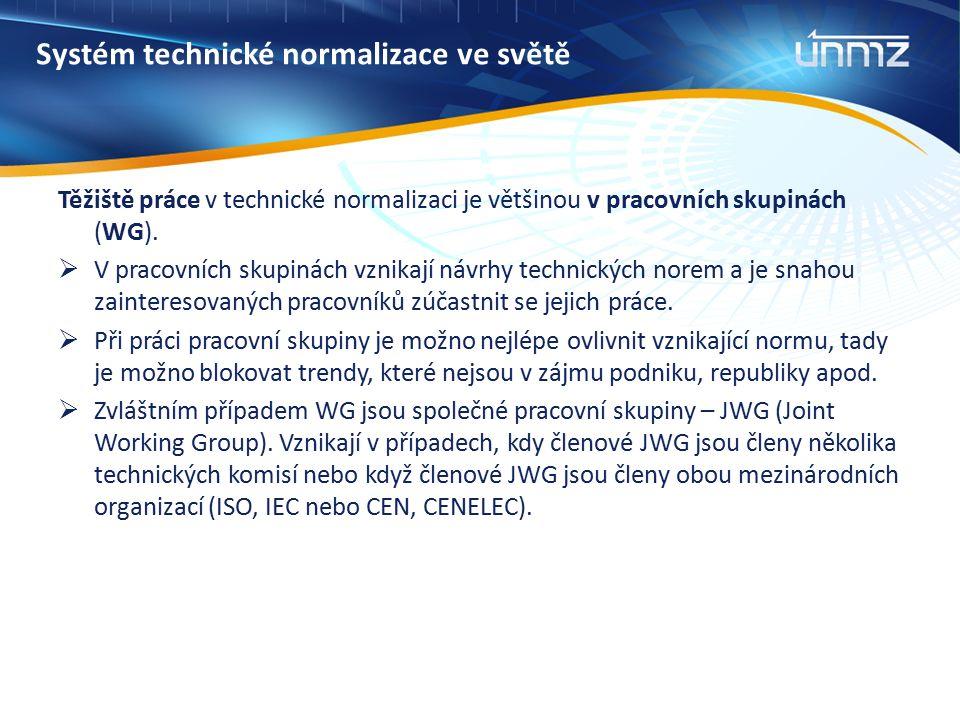 Systém technické normalizace ve světě Česká republika je zastoupena Úřadem pro technickou normalizaci, metrologii a státní zkušebnictví (ÚNMZ)  v mezinárodních normalizačních organizacích ISO a IEC  v evropských normalizačních organizacích CEN a CENELEC Schvalování norem a normativních dokumentů je na základě konsenzu, s návrhem normy musí souhlasit většina účastníků připomínkového řízení.