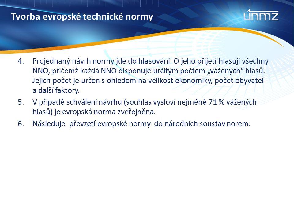 Tvorba evropské technické normy 4.Projednaný návrh normy jde do hlasování. O jeho přijetí hlasují všechny NNO, přičemž každá NNO disponuje určitým poč