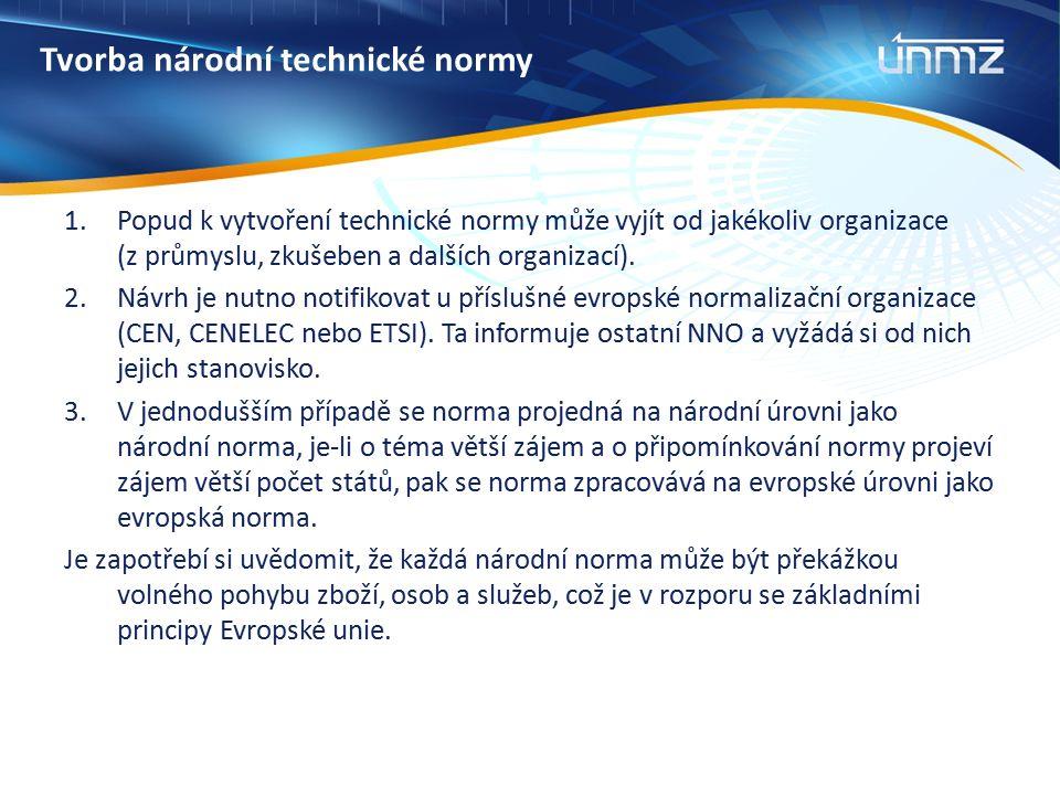 Tvorba národní technické normy 1.Popud k vytvoření technické normy může vyjít od jakékoliv organizace (z průmyslu, zkušeben a dalších organizací). 2.N