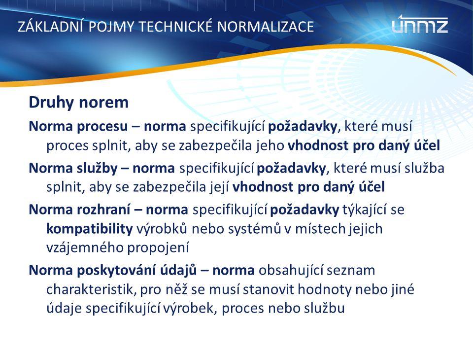 ZÁKLADNÍ POJMY TECHNICKÉ NORMALIZACE Druhy norem Norma procesu – norma specifikující požadavky, které musí proces splnit, aby se zabezpečila jeho vhodnost pro daný účel Norma služby – norma specifikující požadavky, které musí služba splnit, aby se zabezpečila její vhodnost pro daný účel Norma rozhraní – norma specifikující požadavky týkající se kompatibility výrobků nebo systémů v místech jejich vzájemného propojení Norma poskytování údajů – norma obsahující seznam charakteristik, pro něž se musí stanovit hodnoty nebo jiné údaje specifikující výrobek, proces nebo službu