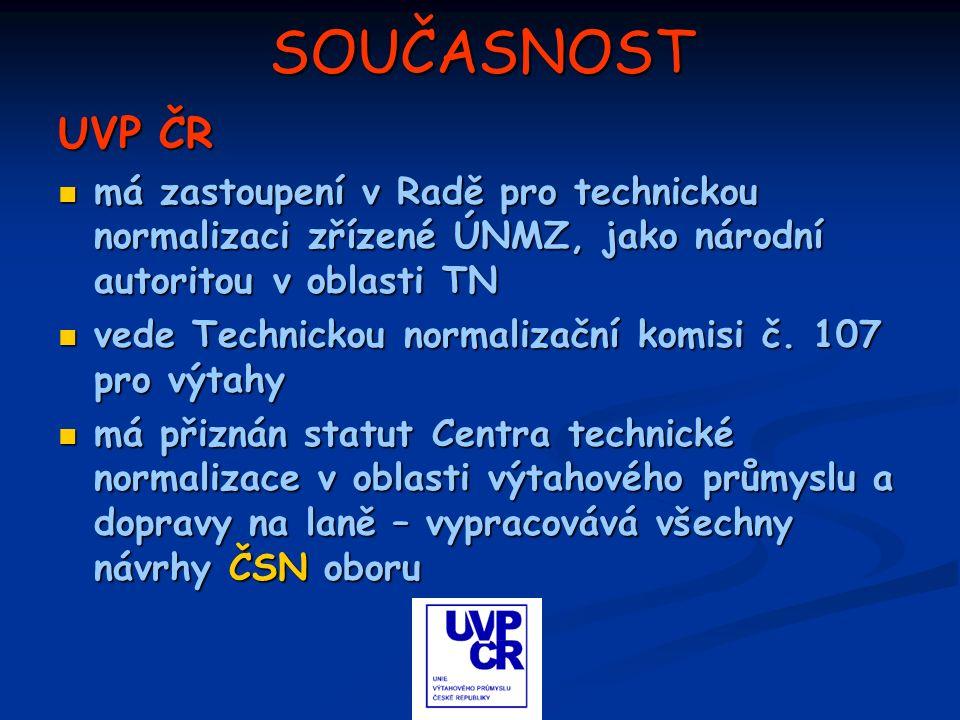 SOUČASNOST UVP ČR má zastoupení v Radě pro technickou normalizaci zřízené ÚNMZ, jako národní autoritou v oblasti TN má zastoupení v Radě pro technicko