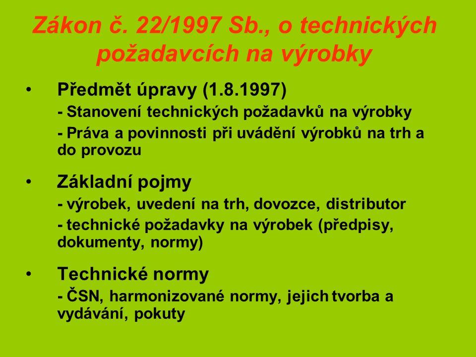 Zákon č. 22/1997 Sb., o technických požadavcích na výrobky Předmět úpravy (1.8.1997) - Stanovení technických požadavků na výrobky - Práva a povinnosti
