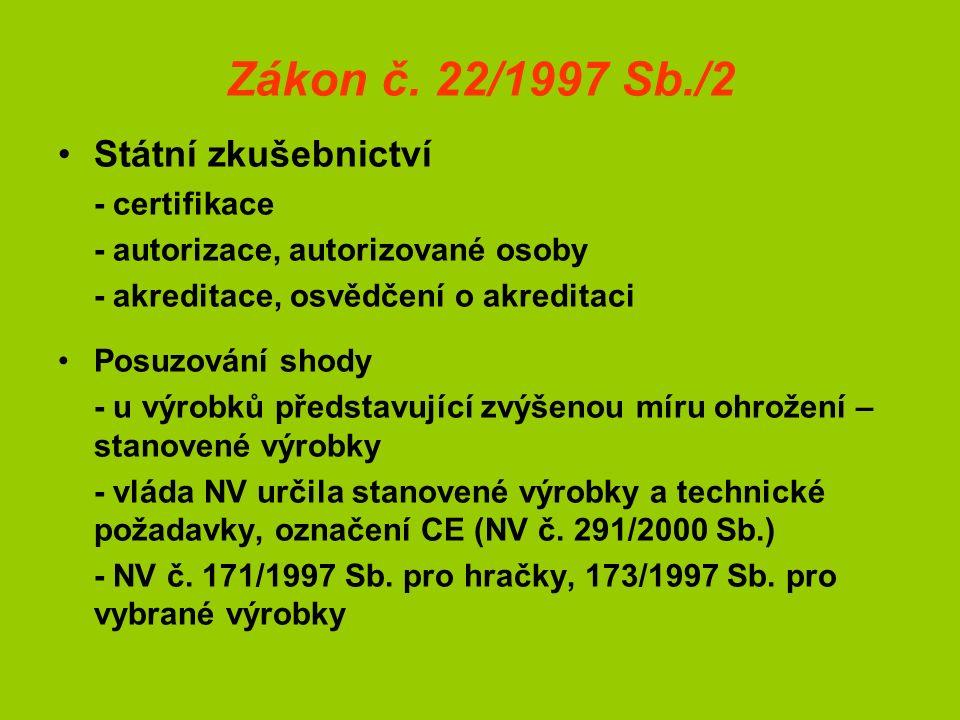 Zákon č. 22/1997 Sb./2 Státní zkušebnictví - certifikace - autorizace, autorizované osoby - akreditace, osvědčení o akreditaci Posuzování shody - u vý