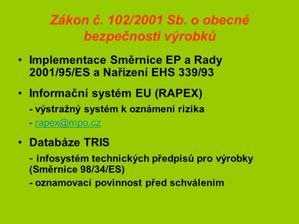 Zákon č. 102/2001 Sb. o obecné bezpečnosti výrobků Implementace Směrnice EP a Rady 2001/95/ES a Nařízení EHS 339/93 Informační systém EU (RAPEX) - výs
