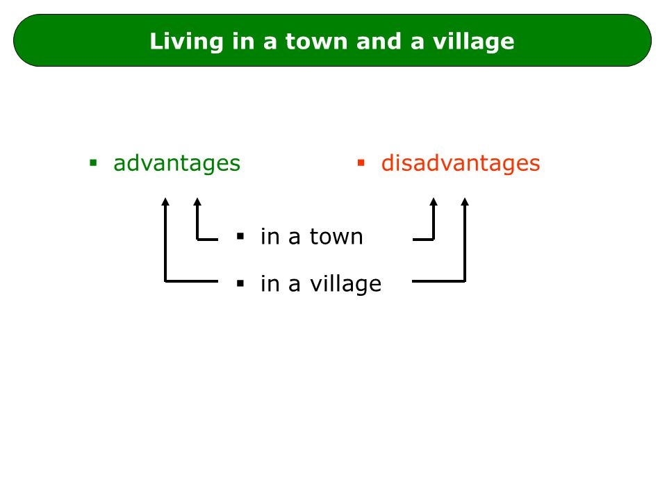 Living in a town and a village  advantages  disadvantages  in a town  in a village