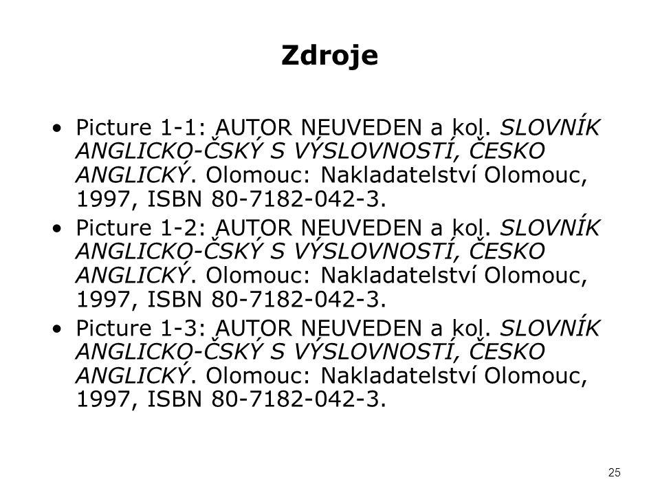Zdroje Picture 1-1: AUTOR NEUVEDEN a kol. SLOVNÍK ANGLICKO-ČSKÝ S VÝSLOVNOSTÍ, ČESKO ANGLICKÝ. Olomouc: Nakladatelství Olomouc, 1997, ISBN 80-7182-042