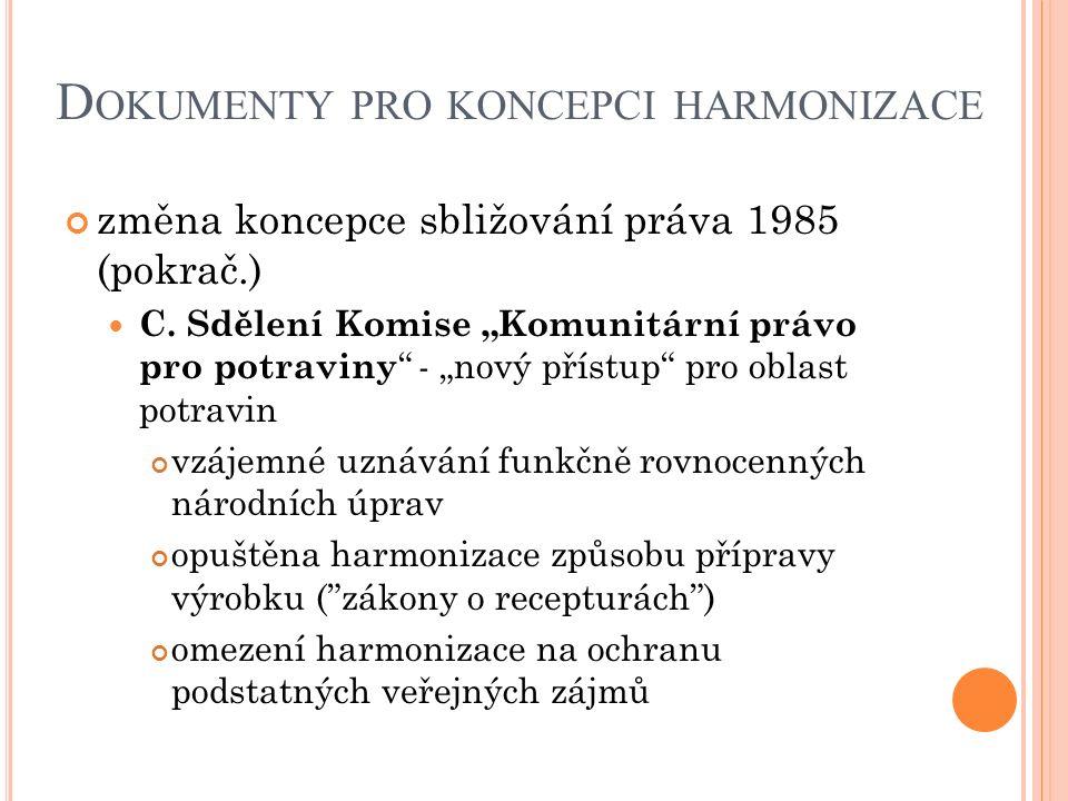 """D OKUMENTY PRO KONCEPCI HARMONIZACE změna koncepce sbližování práva 1985 (pokrač.) C. Sdělení Komise """"Komunitární právo pro potraviny """" - """"nový přístu"""