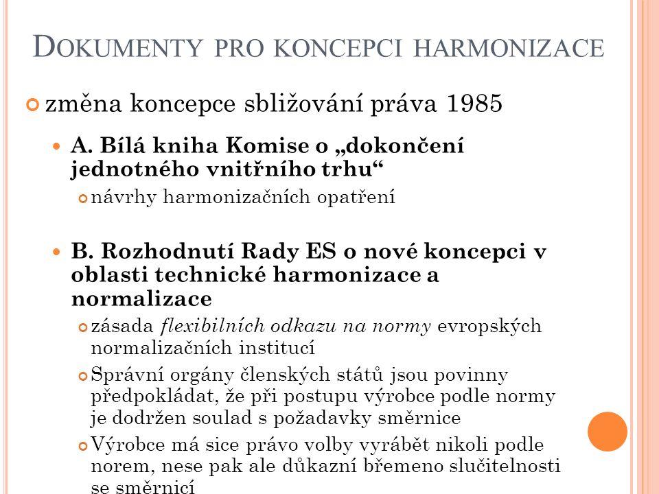 """D OKUMENTY PRO KONCEPCI HARMONIZACE změna koncepce sbližování práva 1985 A. Bílá kniha Komise o """"dokončení jednotného vnitřního trhu"""" návrhy harmoniza"""