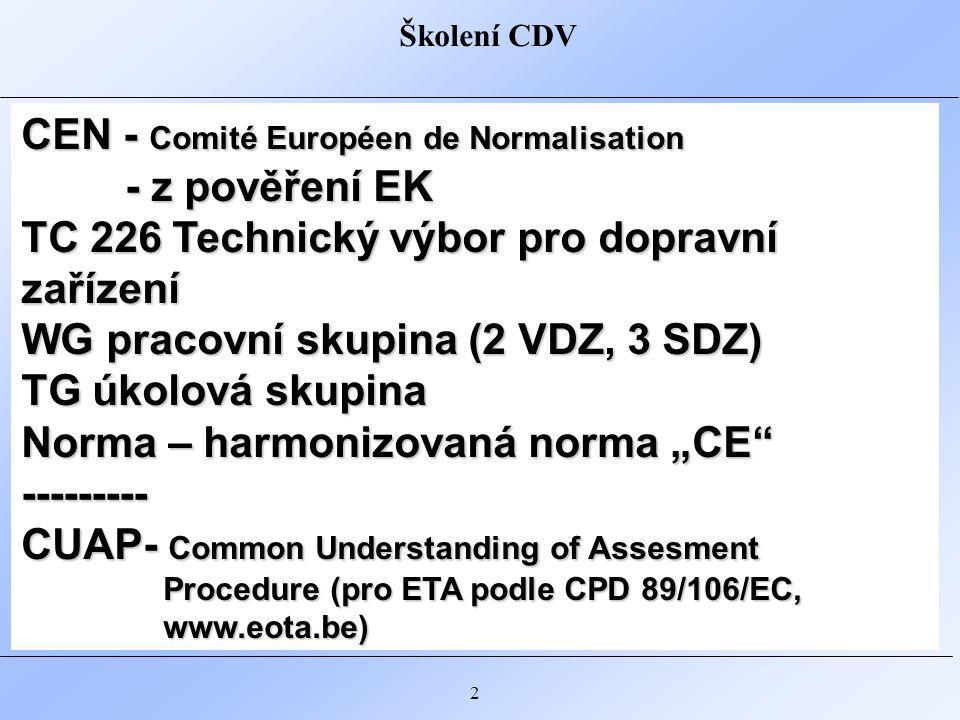 """Školení CDV 2 CEN - Comité Européen de Normalisation - z pověření EK - z pověření EK TC 226 Technický výbor pro dopravní zařízení WG pracovní skupina (2 VDZ, 3 SDZ) TG úkolová skupina Norma – harmonizovaná norma """"CE --------- CUAP- Common Understanding of Assesment Procedure (pro ETA podle CPD 89/106/EC, www.eota.be)"""