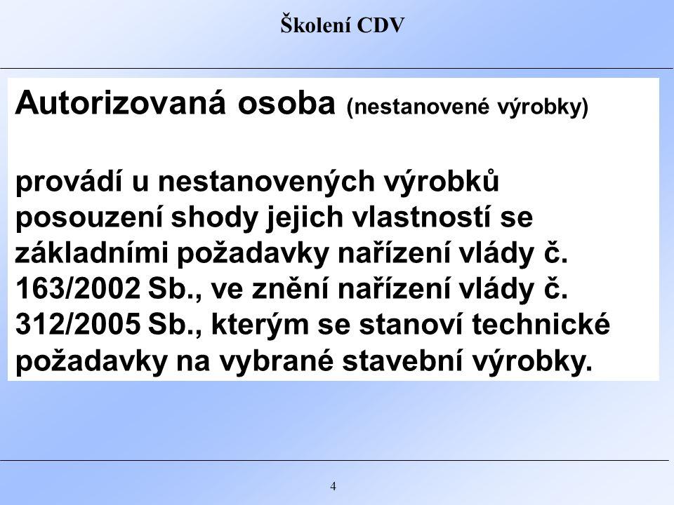 Školení CDV 5 Certifikační orgán pro certifikaci výrobků je akreditován Českým institutem pro akreditaci.
