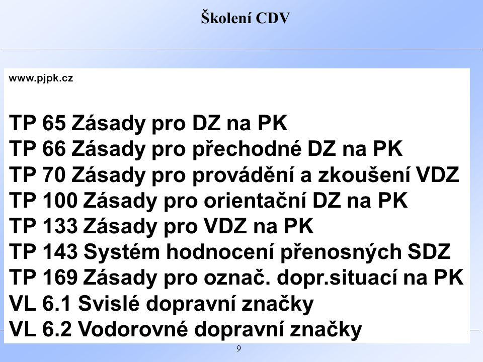 Školení CDV 10 http://www.rsd.cz/Technicke-predpisy/PPK-a-dopravni-znaceni PPK-FOL Tabulka pro identifikaci třídy folie PPK-PRE Přechodné SDZ PPK-SZ Stálé SDZ PPK-VZ Stálé VDZ