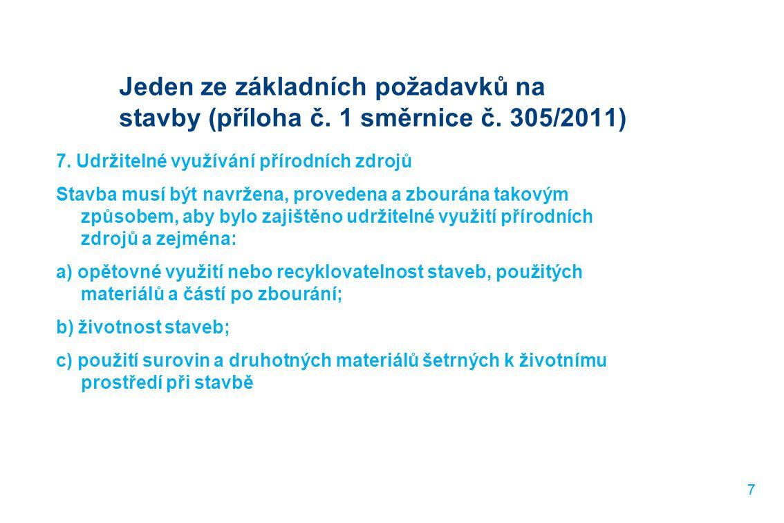 77 Jeden ze základních požadavků na stavby (příloha č. 1 směrnice č. 305/2011) 7. Udržitelné využívání přírodních zdrojů Stavba musí být navržena, pro