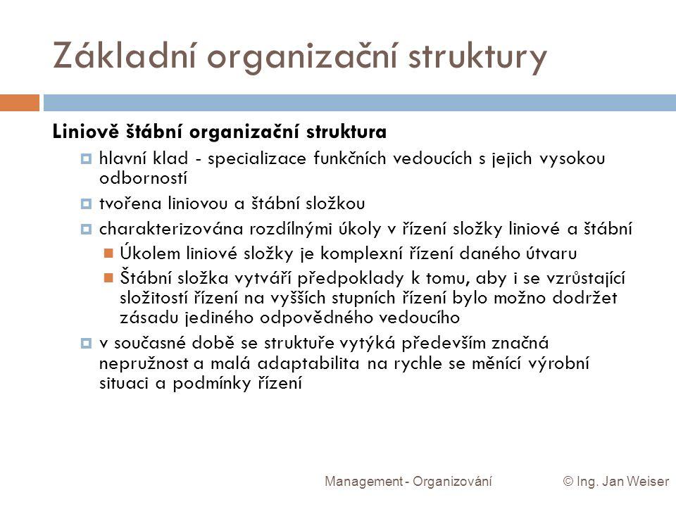 Základní organizační struktury Management - Organizování © Ing. Jan Weiser Liniově štábní organizační struktura  hlavní klad - specializace funkčních