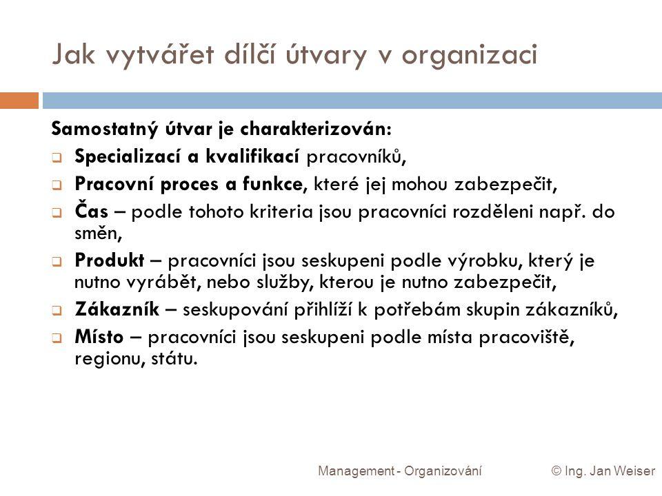 Jak vytvářet dílčí útvary v organizaci Management - Organizování © Ing. Jan Weiser Samostatný útvar je charakterizován:  Specializací a kvalifikací p
