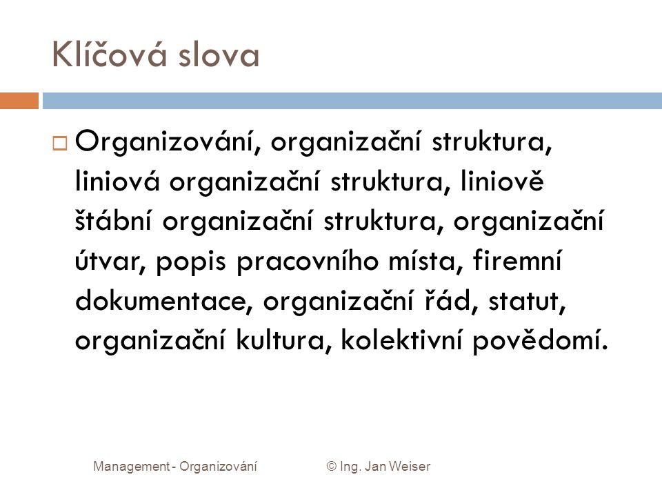 Klíčová slova  Organizování, organizační struktura, liniová organizační struktura, liniově štábní organizační struktura, organizační útvar, popis pracovního místa, firemní dokumentace, organizační řád, statut, organizační kultura, kolektivní povědomí.