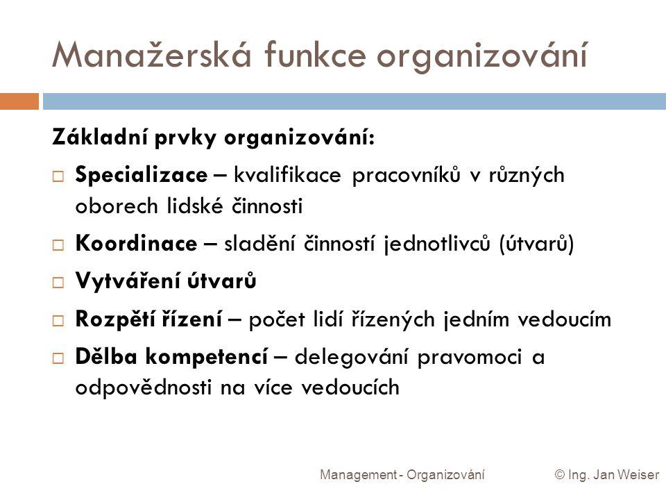 Manažerská funkce organizování Management - Organizování © Ing. Jan Weiser Základní prvky organizování:  Specializace – kvalifikace pracovníků v různ