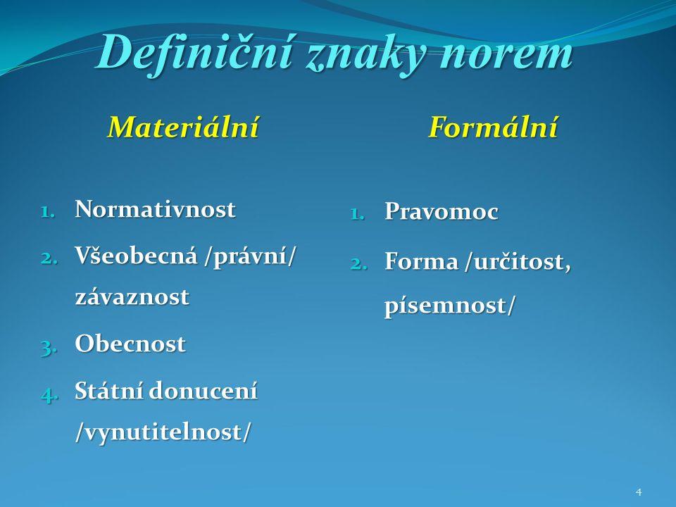 4 Definiční znaky norem MateriálníFormální 1. Normativnost 2.