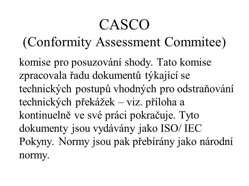 CASCO (Conformity Assessment Commitee) komise pro posuzování shody. Tato komise zpracovala řadu dokumentů týkající se technických postupů vhodných pro