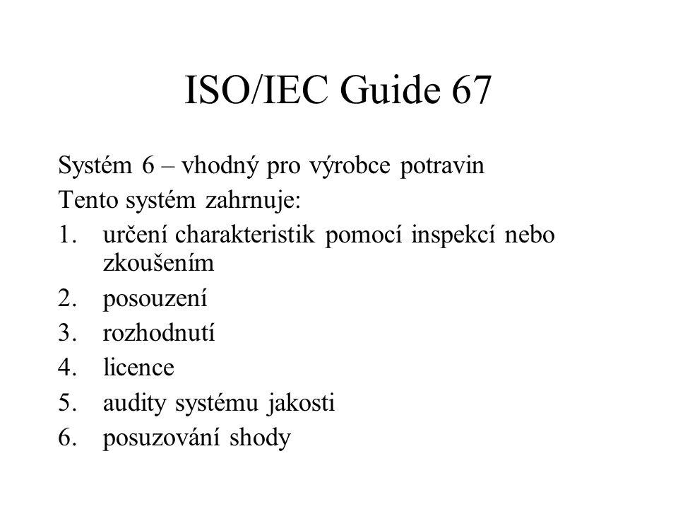 ISO/IEC Guide 67 Systém 6 – vhodný pro výrobce potravin Tento systém zahrnuje: 1.určení charakteristik pomocí inspekcí nebo zkoušením 2.posouzení 3.ro
