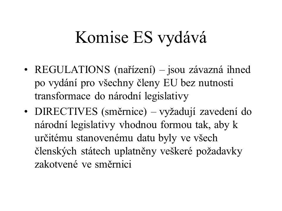 Komise ES vydává REGULATIONS (nařízení) – jsou závazná ihned po vydání pro všechny členy EU bez nutnosti transformace do národní legislativy DIRECTIVE