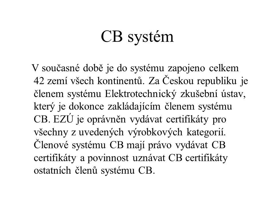 CB systém V současné době je do systému zapojeno celkem 42 zemí všech kontinentů. Za Českou republiku je členem systému Elektrotechnický zkušební ústa