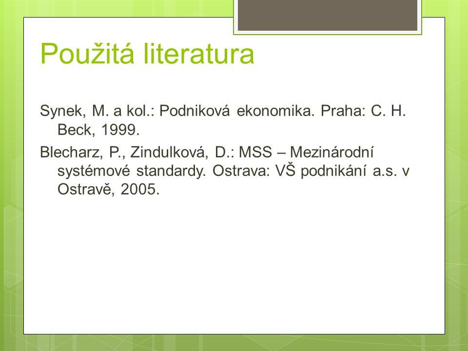 Použitá literatura Synek, M. a kol.: Podniková ekonomika.