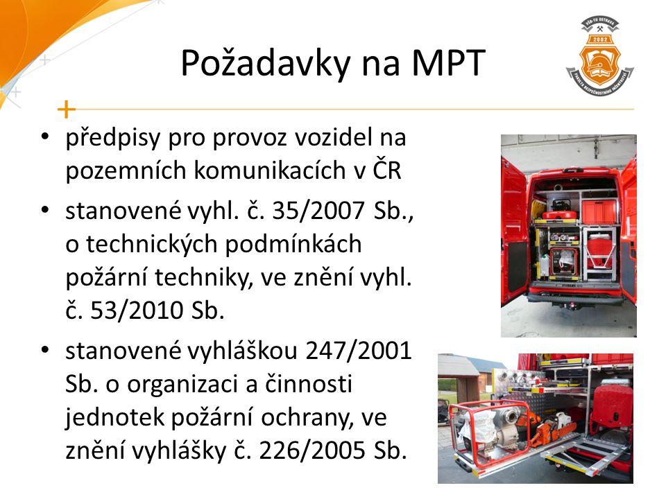 Požadavky na MPT předpisy pro provoz vozidel na pozemních komunikacích v ČR stanovené vyhl. č. 35/2007 Sb., o technických podmínkách požární techniky,