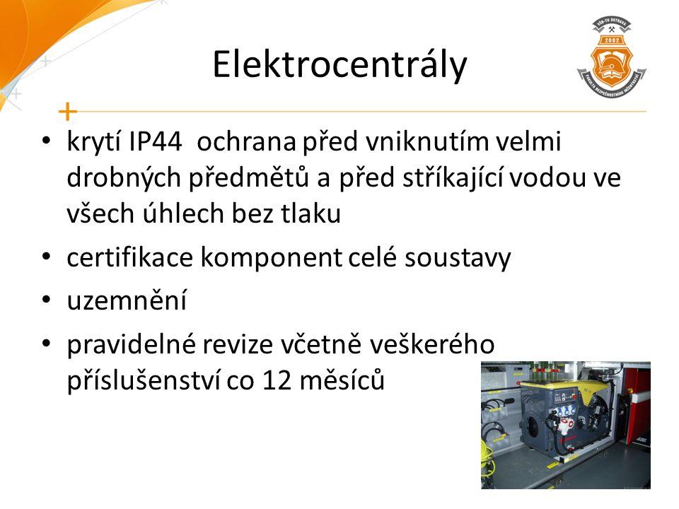 Elektrocentrály krytí IP44 ochrana před vniknutím velmi drobných předmětů a před stříkající vodou ve všech úhlech bez tlaku certifikace komponent celé