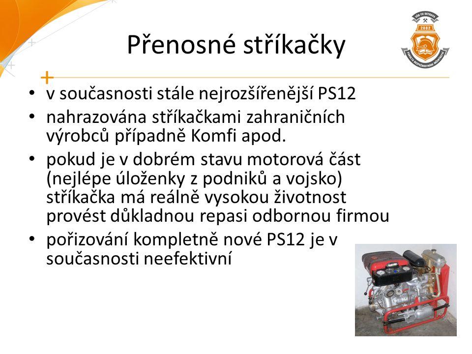 Přenosné stříkačky v současnosti stále nejrozšířenější PS12 nahrazována stříkačkami zahraničních výrobců případně Komfi apod. pokud je v dobrém stavu