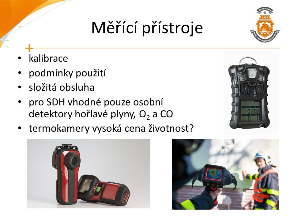 Měřící přístroje kalibrace podmínky použití složitá obsluha pro SDH vhodné pouze osobní detektory hořlavé plyny, O 2 a CO termokamery vysoká cena živo