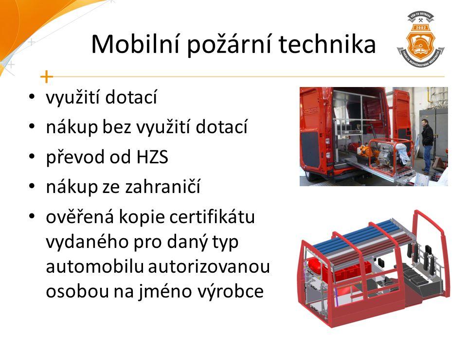 Mobilní požární technika využití dotací nákup bez využití dotací převod od HZS nákup ze zahraničí ověřená kopie certifikátu vydaného pro daný typ auto