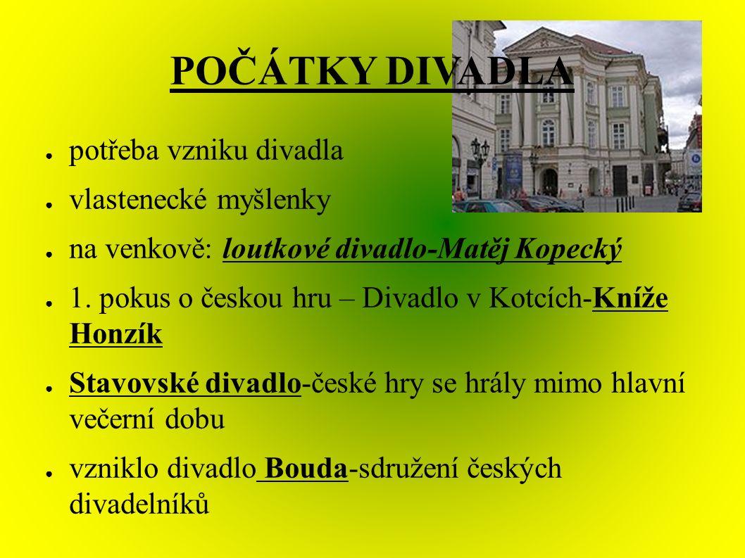 POČÁTKY DIVADLA ● potřeba vzniku divadla ● vlastenecké myšlenky ● na venkově: loutkové divadlo-Matěj Kopecký ● 1.